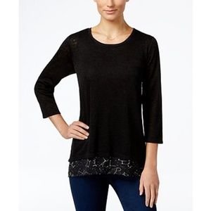 Style & Co Petite Layered-Look Top, Eclipse, PS